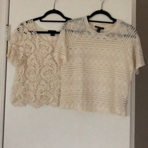 Lace tops, both size L (juniors)